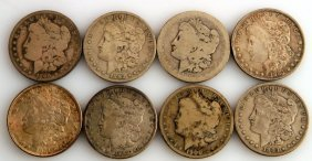 8 Silver Morgan Dollar Coins Various Dates