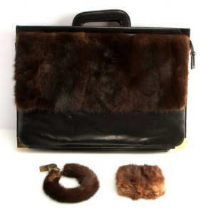 Vintage Briefcase With Mink Accesories And Accents