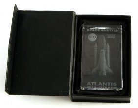 Space Shuttle Atlantis Vintage Glass Paper Weight