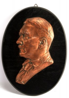 Adolf Hitler Copper Plaque On Wood 12.5 Inches