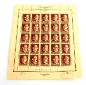Adolf Hitler's 53rd Birthday Stamp Sheet 1942