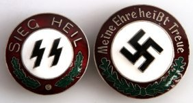 2 German Wwii Third Reich Enameled Badges