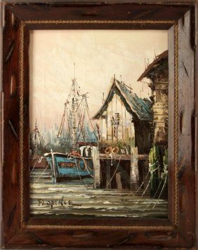 Vintage Nautical Painting Signed Florence Oil