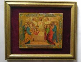 19th Century Russian Dormition Icon Painted On Tin