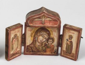 19th Century Antique Russian Icon Travel Triptych