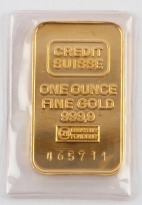 Credit Suisse 1 Ozt 999.9 Gold Bar Bullion