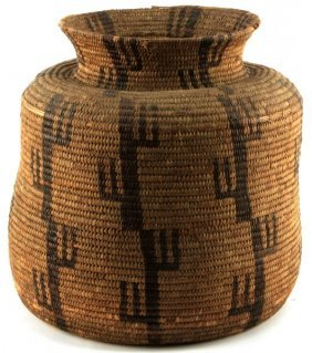Large Pima Coil Basket Olla With Cactus Motifs