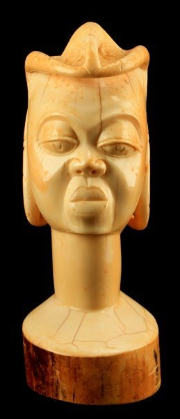 Pre-ban Tusk Ivory Bust Carving Of Female