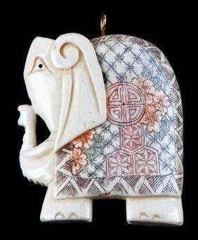 Carved Pre-ban Ivory Scrimshaw Elephant Pendant