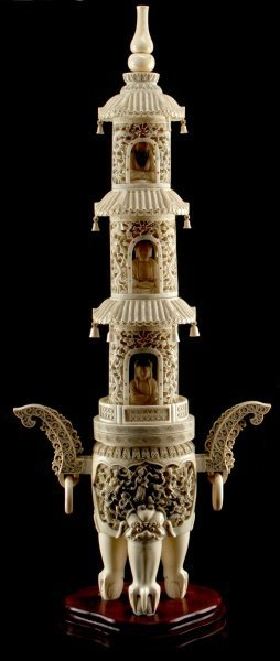 Large 36 Inches Tall Carved Ivory Pagoda Signed