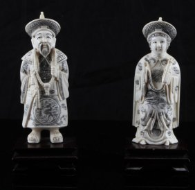Pair Of Ivory Carving Chinese Emperor & Empress