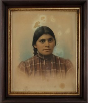 Antique Colorized Albumen Photograph Indian Woman