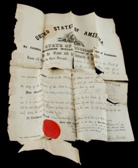 1866 Louisiana Governor Sheriff St Landry Document