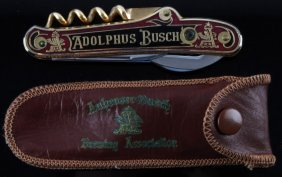 Anheuser Busch Red Cork Screw Pocket Knife W Case