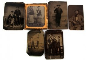 6 Unusual Topic Antique Tintype Photograph Lot