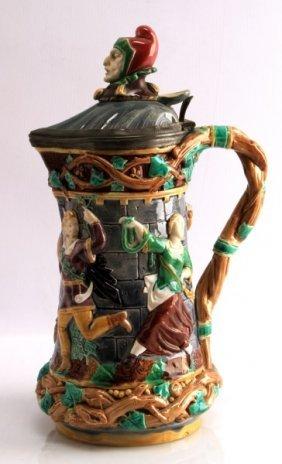 Antique Minton Stein Pitcher Jester & Dancers
