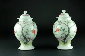 Antique Pair Of Chinese Cover Jars
