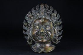 Antique Tibetan Bronze Mask