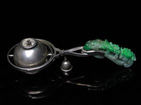 Antique Chinese Silver Lighter With Jadeite Belt