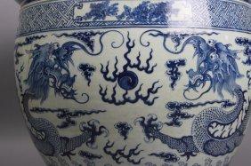 Antique B/w Dragon Fish Bowl