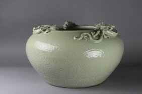 Antique Chinese Celadon Dragon Fish Bowl