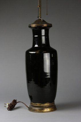 Antique Chinese Mirror Black Rouleau Vase