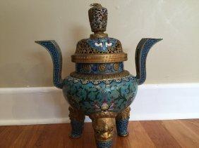 Antique Chinese Gilt Cloisonne Incense Burner