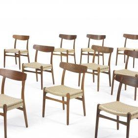 Hans Wegner Dining Chairs Model CH23, Set Of Ten