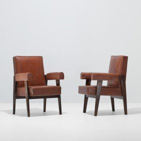 Le Corbusier And Jeanneret Pair Of Armchairs