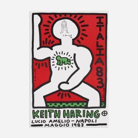 Keith Haring Lucio Amelio Poster With Drawing