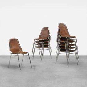 Charlotte Perriand, Ten Dining Chairs From Les Arcs