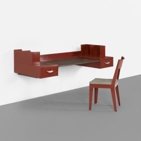 Jean Prouve & Jules Leleu, Wall-mounted Desk And Chair