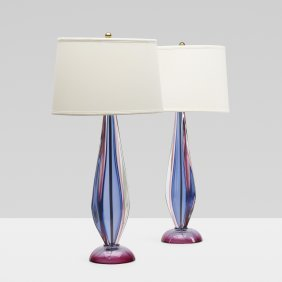 Archimede Seguso, Table Lamps, Pair