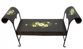 Antique Style Modern Wrought Iron Bench