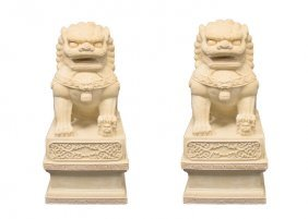 A Pair Of Palace Size Stone Composite Sculptures