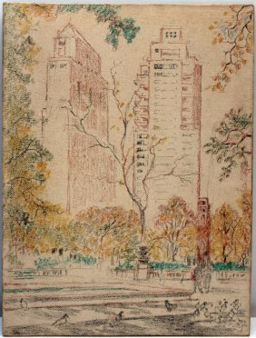 New York City Drawing Of Park And Building