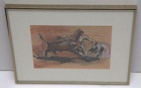 Watercolor Of Bullfights