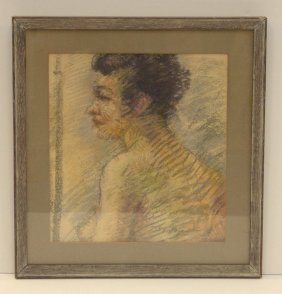 A. Sozio, Pastel Portrait Of A Woman
