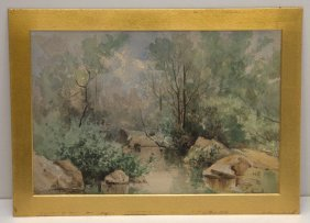 Signed Watercolor - Stream W/rocks.