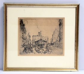 Leon Louis Dolice Etching Herald Square