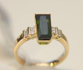 14 Kt. Yg & Green Tourmaline Ring