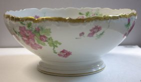 Limoges Hand Painted Porcelain Punch Bowl