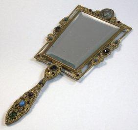 Austrian Gilt Metal And Jeweled Hand Held Mirror
