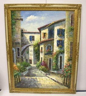 Large Oil Painting On Canvas Village Scene