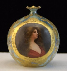 Royal Vienna Round Portrait Vase