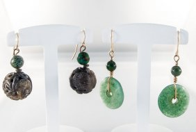 Collection Of Assorted Jade Earrings