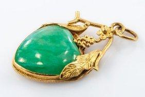 Chinese Export 22k Yellow Gold Jadeite Jade Heart