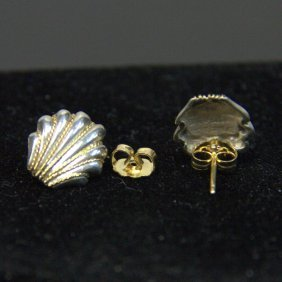 Vintage Tiffany & Co Sterling 14kt Accent Shell