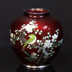 Japanese Red Cloisonne Vase