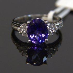 14kt Wg Tanzanite & Diamond Ring